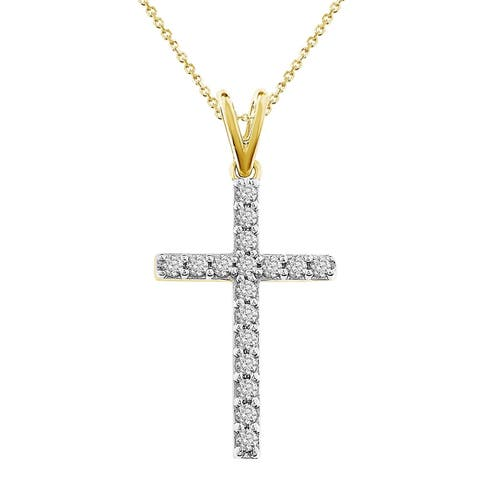 """1/4 cttw Round Natural Diamond Traditional Women's Cross Pendant w/18"""" Chain Necklace 10k White Gold And Yellow Gold"""