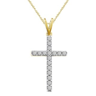 10k 1/4ct white & yellow diamond traditional women's cross necklace