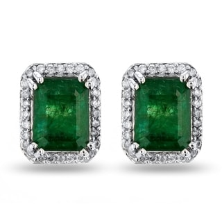 Auriya 14k White Gold 3 1/5ct Emerald and 3/8ct TDW Diamond Earrings