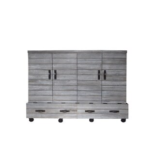 Shiplap Queen Size Mobile Wallbed in Charcoal Wash Finish