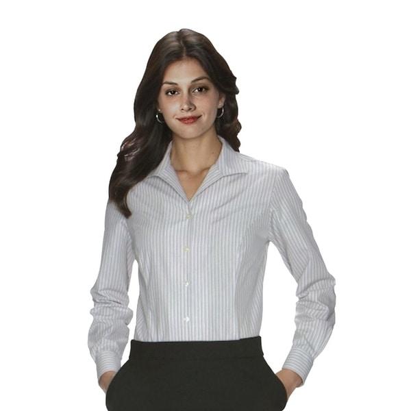 Twin Hill Womens Shirt Grey Cotton/Poly Stripe