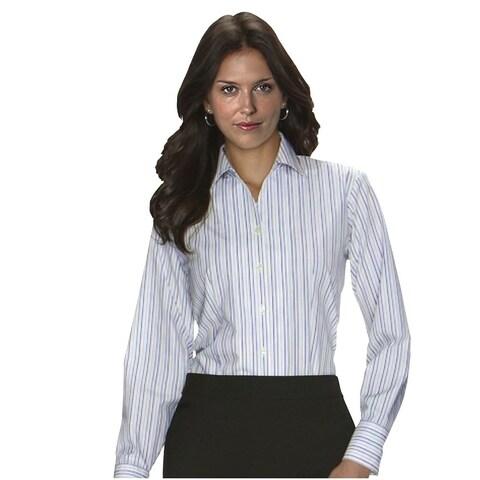 Twin Hill Womens Shirt Plum/Tan Cotton/Poly Stripe