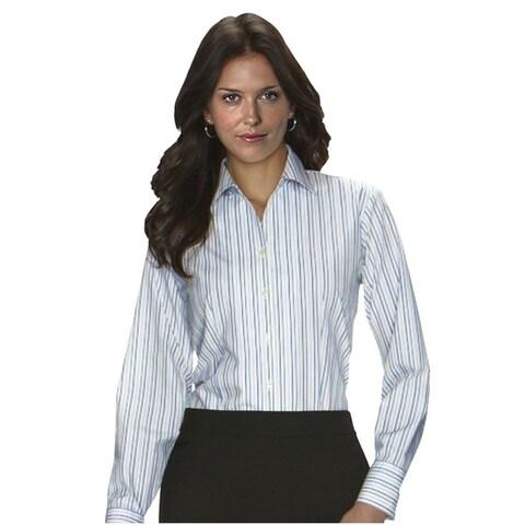 Twin Hill Womens Shirt Teal/Tan Cotton/Poly Stripe