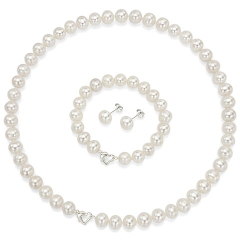 """DaVonna Sterling Silver 7-7.5mm White Freshwater Pearl Necklace 18"""" Bracelet 7""""and Earring Stud Jewelry Set"""