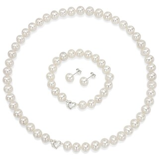 "DaVonna Sterling Silver 7-7.5mm White Freshwater Pearl Necklace 18"" Bracelet 7""and Earring Stud Jewelry Set"