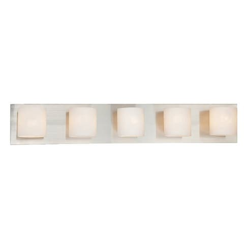 "Eurofase Geos 5-Light Bathbar, Satin Nickel Finish - 20381-011 - satin nickel - 5.5"" high x 30.75"" wide"