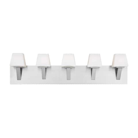 "Eurofase Anglo 5-Light Bathbar, Satin Nickel Finish - 23044-029 - satin nickel - 8"" high x 32.75"" wide"