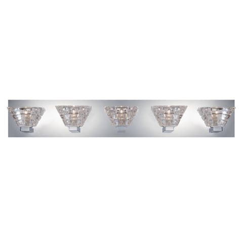 "Eurofase Zilli 5-Light Bathbar, Chrome Finish - 28033-011 - 5.25"" high x 31"" wide - 5.25"" high x 31"" wide"