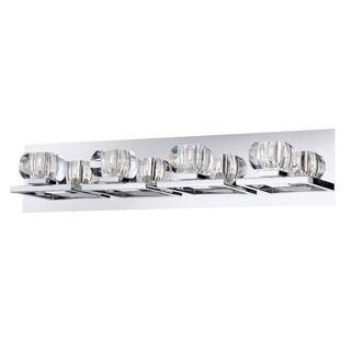 Eurofase Casa Squared Faceted Crystal Orbs Bathbar, Chrome Finish, 4 G9 Light Bulbs, 25.5 Inches Wide - Model 26358-017