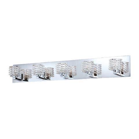 "Eurofase Lenza Patterned Glass Cubes Bathbar, Chrome Finish - 25725-018 - 5"" high x 33.75"" long - 5"" high x 33.75"" long"