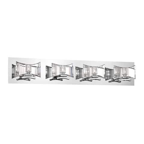 """Eurofase Uzo Clear Glass Bathbar, Chrome Finish - 26349-015 - 6"""" high x 31.5"""" wide - 6"""" high x 31.5"""" wide"""