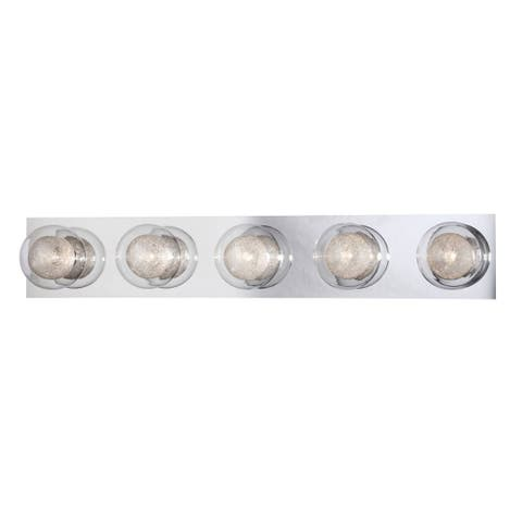 "Eurofase Cambria 5-Light Bathbar, Chrome Finish - 28014-010 - 4.75"" high x 28.25"" wide - 4.75"" high x 28.25"" wide"