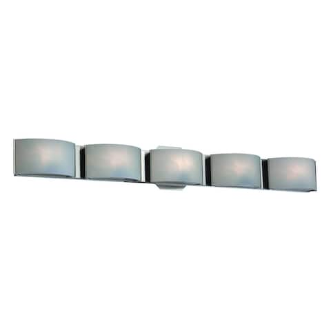 "Eurofase Dakota White Marble Glass 5 LED Bathbar, Chrome Finish - 30092-013 - 4.75"" high x 33.5"" wide - 4.75"" high x 33.5"" wide"