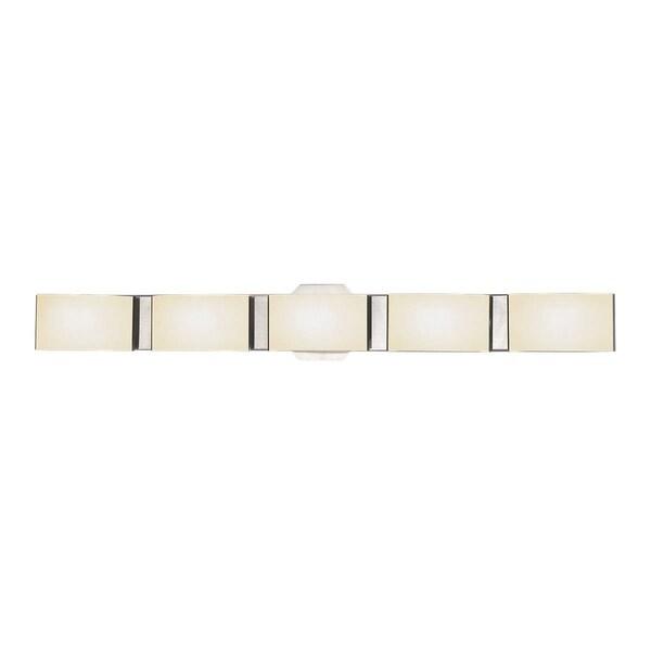 "Eurofase Dakota White Marble Glass 5 LED Bathbar, Satin Nickel Finish - 30092-020 - satin nickel - 4.75"" high x 33.5"" wide. Opens flyout."