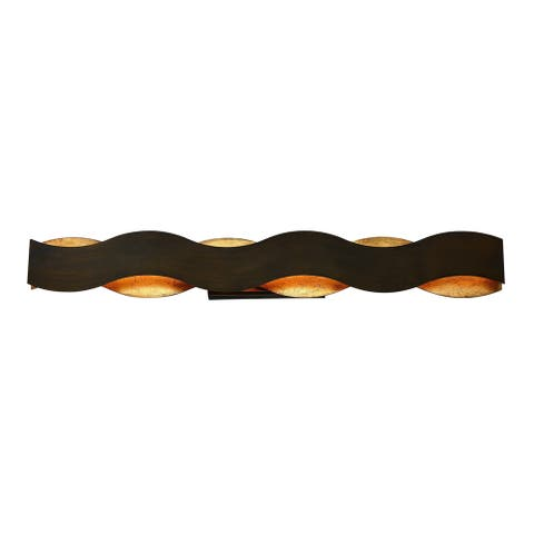 "Eurofase Vaughan Metal Waves LED Bathbar, Bronze finish with Gold Leaf Details - 31785-013 - 5.5"" high x 40"" wide"