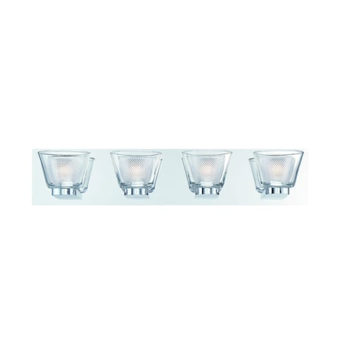 """Eurofase Trent Double Glass 4 LED Bathbar, Frosted and Clear Glass Shade, Chrome Finish - 31802-017 - 5.25"""" high x 25.25"""" wide"""