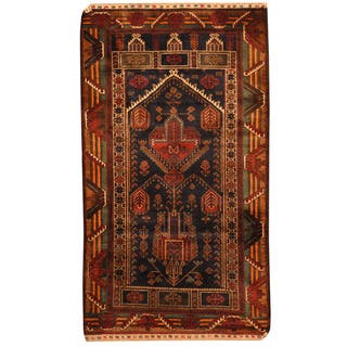 Handmade Herat Oriental Afghan Hand-knotted Tribal Balouchi Wool Rug (Afghanistan) - 2'11 x 5'2