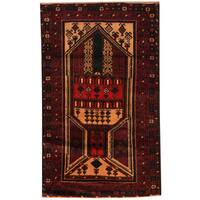 Handmade Herat Oriental Afghan Hand-knotted Tribal Balouchi Wool Rug  - 2'8 x 4'4 (Afghanistan)