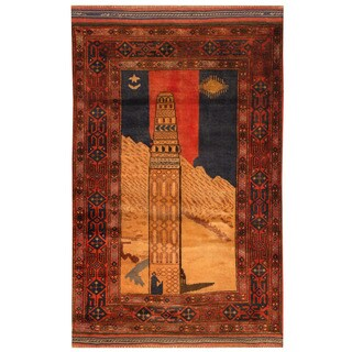 Handmade Herat Oriental Afghan Hand-knotted Tribal Balouchi Wool Rug (2'10 x 4'7)