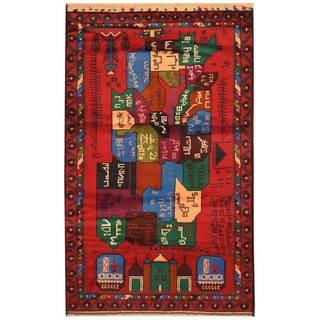 Handmade Herat Oriental Afghan Hand-knotted Tribal Balouchi Wool Rug (2'9 x 4'6)