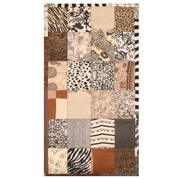 Handmade Memory Foam Cotton Patchwork Rug (India) - 3' x 5'
