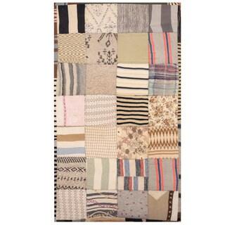 Herat Oriental Indo Hand-stitched Memory Foam Cotton Patchwork Rug (2'10 x 4'10)