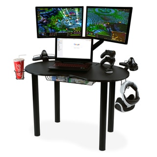 Atlantic Eclipse Gaming Desk with Black Steel Legs, Black Carbon Fiber Texture Top, and Accessory Hooks
