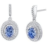 Simulated Tanzanite Halo Dangle Earrings Sterling Silver - Purple