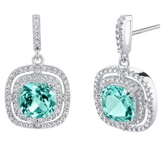 Simulated Paraiba Tourmaline Sterling Silver Cushion Swing Earrings - Green