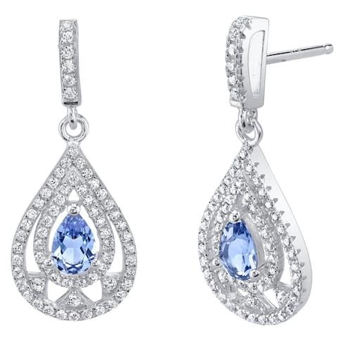 Simulated Tanzanite Sterling Silver Chandelier Earrings