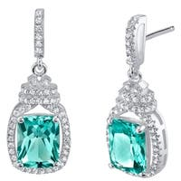 Simulated Paraiba Tourmaline Sterling Silver Cushion-Cut Glitz Earrings - Green