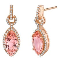 Simulated Morganite Rose-Tone Sterling Silver Marquise Royal Earrings - Pink