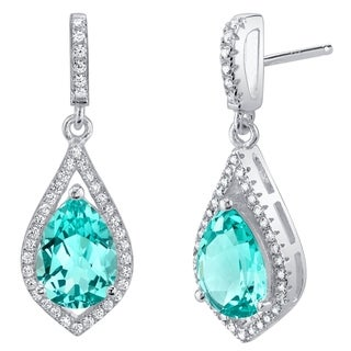 Simulated Paraiba Tourmaline Sterling Silver Tear Drop Eden Earrings - Green