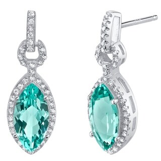 Simulated Paraiba Tourmaline Sterling Silver Marquise Royal Earrings - Green