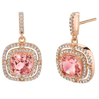 Simulated Morganite Rose-Tone Sterling Silver Cushion Swing Earrings - Pink
