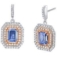 Simulated Tanzanite Two-Tone Sterling Silver Octagon Poise Earrings - Purple