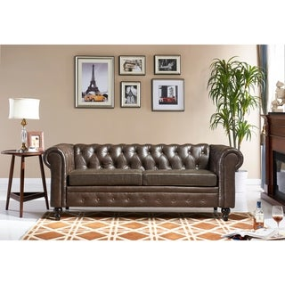 Chesterfield Brown Leather Tufted Sofa