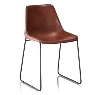 Hudson Brown Leather Dinning Chair (As Is Item)