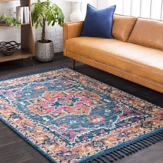 "Boho Medallion Tassel Orange/Pink Area Rug (3'11 x 5'7) - 3'11"" x 5'7"""