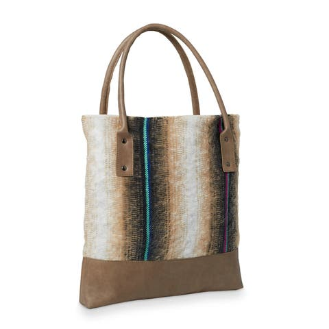 Handmade Striped Fabric and Leather Tote Handbag (Lebanon)