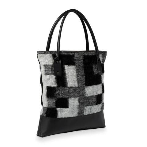 Handmade Black and White Block Fabric and Leather Tote Handbag (Lebanon)