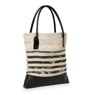 Striped Fabric and Leather Tote Handbag