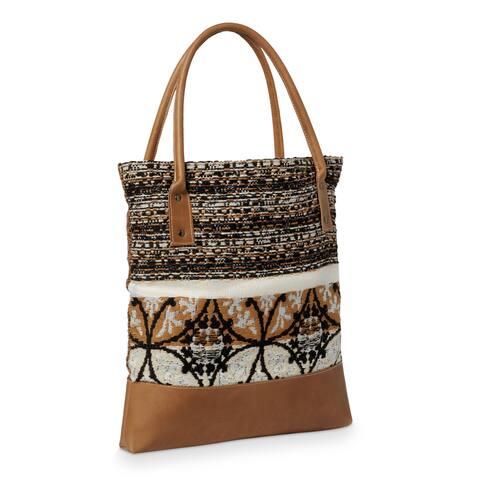 Handmade Provincial with Stripe Weave Fabric and Leather Tote Handbag (Lebanon)