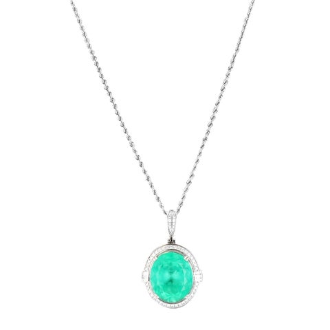 Auriya Platinum 22 1/3ct Emerald and 3/4ct TDW Diamond Necklace - White