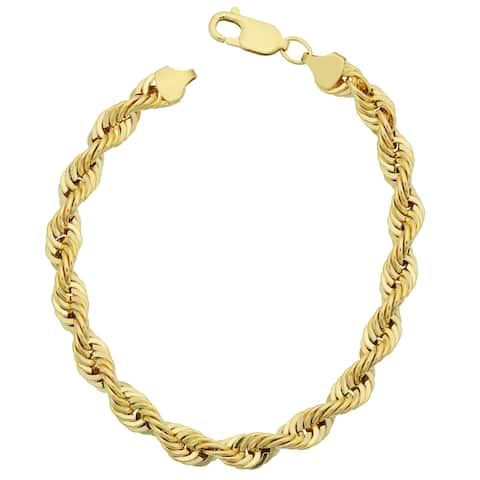 Fremada Men's 14k Yellow Gold Filled Bold 6-mm Rope Chain Bracelet