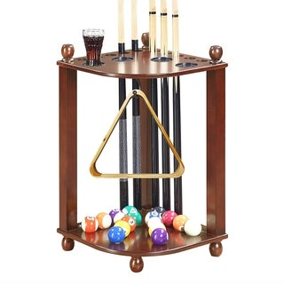 Regent Corner Floor Cue Rack - Walnut Finish