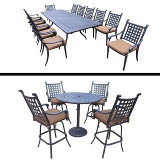 5 Pc Bar Set and 13 Pc Dining Set with Extendable Table and Cushions