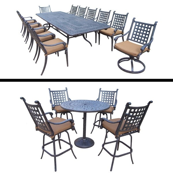 5 Pc Bar Set and 11 Pc Dining Set with Extendable Table and Cushions