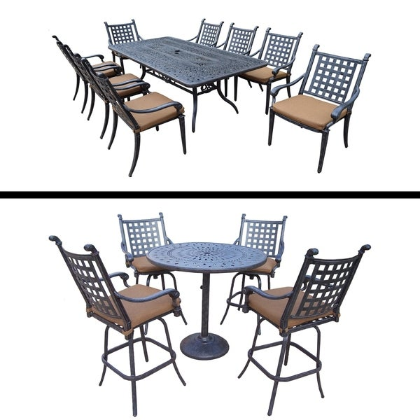 5 Pc Bar Set and 9 Pc Dining Set with 8 Chairs and Sunbrella Cushions