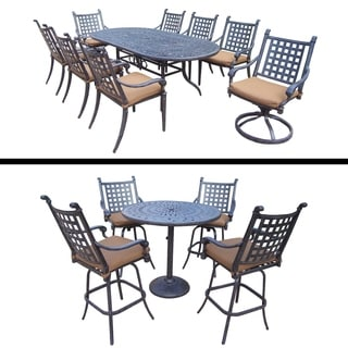 Plymouth Premier Set with 5 Pc Bar Set, 9 Pc Dining Set and Sunbrella Cushions